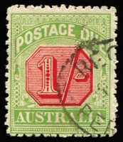 Lot 882 [2 of 2]:1909-10 Wmk Crown/Double Lined A Thick Paper 1/- deep rose-red & green variety Offset of centre BW #D88c, fine used, Cat $500.