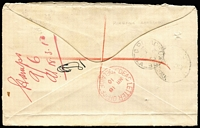 "Lot 777 [2 of 2]:1910 (Mar 1) registered cover to Adelaide franked with South Australia 2d tied by strikes of Purnong Landing squared circle datestamp, handstruck 'T' in oval with mss. ""4d"" scored through in red lines and 10d written in red crayon alongside, Postage Dues 6d green BW #D55 & Bicolour 4d red and green #D85 affixed and pen cancelled, manuscript endorsement ""Refused/17.3.10"", DLO backstamp in red, 'SURVEYOR GENERAL'S' cachet in blue applied on delivery. Full of character."