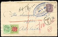 "Lot 777 [1 of 2]:1910 (Mar 1) registered cover to Adelaide franked with South Australia 2d tied by strikes of Purnong Landing squared circle datestamp, handstruck 'T' in oval with mss. ""4d"" scored through in red lines and 10d written in red crayon alongside, Postage Dues 6d green BW #D55 & Bicolour 4d red and green #D85 affixed and pen cancelled, manuscript endorsement ""Refused/17.3.10"", DLO backstamp in red, 'SURVEYOR GENERAL'S' cachet in blue applied on delivery. Full of character."