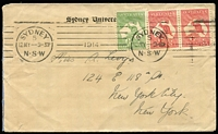 Lot 910:1914 (May 12) Sydney University cover to New York with Roos 1d Red Die II pair (faults) & ½d tied by Sydney machine cancel.