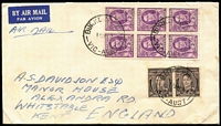 Lot 341 [3 of 4]:1929-50s Covers Group with [1] 1929 (Jun 4) airmail to SA with KGV 1½d & 3d Airmail (with Plate 2 tab) tied by Perth machine cancel; [2] 1938 Melbourne to Paris with KGV ½d orange x6, undelivered with 'RETOUR/A L'ENVOYEUR' handstamps on front an on reverse; 1950 airmail to England with KGVI 3d brown pair & 2d purple block of 6; also GB 1890 Penny Postage Jubilee Envelope & card unused. (4)