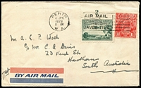 Lot 341 [1 of 4]:1929-50s Covers Group with [1] 1929 (Jun 4) airmail to SA with KGV 1½d & 3d Airmail (with Plate 2 tab) tied by Perth machine cancel; [2] 1938 Melbourne to Paris with KGV ½d orange x6, undelivered with 'RETOUR/A L'ENVOYEUR' handstamps on front an on reverse; 1950 airmail to England with KGVI 3d brown pair & 2d purple block of 6; also GB 1890 Penny Postage Jubilee Envelope & card unused. (4)