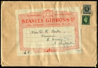 Lot 723 [1 of 2]:1938 inwards surface cover from Stanley Gibbons (London) with GB 4½d KGV/KGVI mixed franking & attractive address label, addressed to Mannum (SA) with arrival backstamp, containing Gibbons colour guide in pristine condition with Perkins Bacon coloured labels. Lovely item.