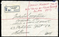 Lot 379 [1 of 8]:1950s-70s Covers Registration Fee Not Paid with [1] 1951 stampless to Adelaide, Black Forest (SA) registration label and datestamp on reverse, untaxed; [2] 1973 stampless to Melbourne wwith Falls Creek (Vic) registration label, Mount Beauty & Melbourne backstamps, untaxed; [3] 1974 Shepparton to Melbourne, 7c QEII paying postage, registration unpaid; [4] 1974 Bowral (NSW) to Melbourne, 7c QEII paying postage, registration unpaid. postage deficiency handstamp. (4)