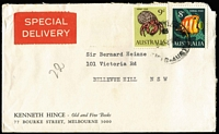 Lot 354 [1 of 4]:1960s Special Delivery Group with 8c Fish pair on 1967 cover, 9c Hermit Crab plus 8c Coral Fish on 1968 cover, 1969 Special Delivery/Special Despatch covers x2 each with 8c Fish plus Cocos 5c Coral blocks of 6; plus three other items. (7)