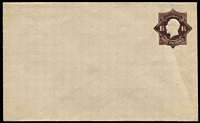 Lot 790:1918-19 1½d Black-Brown KGV Star Die 2 on grey laid bâtonné paper BW #EP17, unsealed flap, unused, Cat $200.