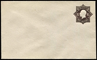 Lot 791:1918-19 1½d Black-Brown KGV Star Die 3 on greyish laid bâtonné paper BW #EP18, unsealed flap, very fine unused, Cat $350.