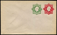 Lot 789:1918-19 1d Red KGV Star + ½d Green KGV Star 1d Die 3 plus ½d on light-grey unsurfaced laid bâtonné paper BW #EP13, unsealed flap, unused, Cat $150.