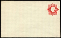 Lot 795:1924-28 1½d Red KGV Star on white surfaced stock with violet security lining BW #EP28, unsealed flap, very fine unused.