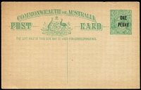 Lot 785:1923 'ONE/PENNY' on 1½d KGV Sideface Obsolete Stock 1d on 1½d emerald-green (P53) BW #P59, minor peripheral aging, unused, Cat $500.