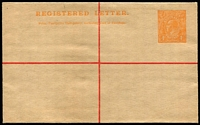 Lot 796:1913 4d Orange Kangaroo, 'REGISTERED LETTER' At Top obliterating device in orange, Setting 2 (115mm) BW #RE7B, very fine unused, Cat $500.