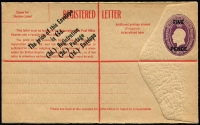 Lot 236 [3 of 6]:1913-60s Selection: with unused items x31 including KGV Lettercards with different scenes and stock Full-Face (top line ending 'to') x6 (one printed for Griffith Bros), plus Reply Card with 'REPLY' obliterated by red bars, KGV Sideface 1d x8 (one Die II), 2d red x2; Registration Envelopes KGV 5d BW #RE13, 4½d on 5d x2 #RE17 &17a, 4½d violet BW #RE20A x2, Oval Types 4½d violet, 5d on 4½d, 5d brown plus QEII 1/0½d opt 'SPECIMEN' in red, 1966-67 24c both types & 25c; Wrappers KGV ½d + ½d, and WWII Air Medal Section; Formular Registered Envelope (2, one with 2/5d Norfolk affixed); used x13, mostly Registered Envelopes including 4½d CTO; variable condition, high catalogue value. (45 items)