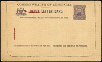 Lot 890 [1 of 6]:1913-60s Selection: with unused items x31 including KGV Lettercards with different scenes and stock Full-Face (top line ending 'to') x6 (one printed for Griffith Bros), plus Reply Card with 'REPLY' obliterated by red bars, KGV Sideface 1d x8 (one Die II), 2d red x2; Registration Envelopes KGV 5d BW #RE13, 4½d on 5d x2 #RE17 &17a, 4½d violet BW #RE20A x2, Oval Types 4½d violet, 5d on 4½d, 5d brown plus QEII 1/0½d opt 'SPECIMEN' in red, 1966-67 24c both types & 25c; Wrappers KGV ½d + ½d, and WWII Air Medal Section; Formular Registered Envelope (2, one with 2/5d Norfolk affixed); used x13, mostly Registered Envelopes including 4½d CTO; variable condition, high catalogue value. (45 items)