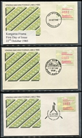 Lot 163 [2 of 5]:1984-2003 Frama Collection in two volumes from 1984 Barred Edge issue to the 2003 Farewell Frama issue with FDCs, commemoratives covers & frama stamps, generally very fine condition. (qty)