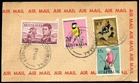 Lot 164 [3 of 7]:Covers Assortment with 1966 airmail parcel labels x5 with various frankings to $1.72, four of the labels with $1 Navigators as part of make-up; also unused decimal PSEs face value $55+; plus GB WW1/WW2 censor covers x11 mostly to USA including 1917 Hugo Griebert & Co (stamp dealer, Strand, London) registered permit cover to USA. (190+)