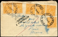 Lot 362 [2 of 4]:Covers Group with [1] 1929 (Jun 4) airmail to SA with KGV 1½d & 3d Airmail (with Plate 2 tab) tied by Perth machine cancel; [2] 1938 Melbourne to Paris with KGV ½d orange x6, undelivered with 'RETOUR/A L'ENVOYEUR' handstamps on front an on reverse; 1950 airmail to England with KGVI 3d brown pair & 2d purple block of 6; also GB 1890 Penny Postage Jubilee Envelope & card unused. (4)