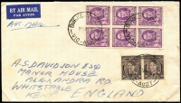 Lot 362 [3 of 4]:Covers Group with [1] 1929 (Jun 4) airmail to SA with KGV 1½d & 3d Airmail (with Plate 2 tab) tied by Perth machine cancel; [2] 1938 Melbourne to Paris with KGV ½d orange x6, undelivered with 'RETOUR/A L'ENVOYEUR' handstamps on front an on reverse; 1950 airmail to England with KGVI 3d brown pair & 2d purple block of 6; also GB 1890 Penny Postage Jubilee Envelope & card unused. (4)