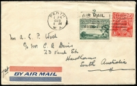 Lot 362 [1 of 4]:Covers Group with [1] 1929 (Jun 4) airmail to SA with KGV 1½d & 3d Airmail (with Plate 2 tab) tied by Perth machine cancel; [2] 1938 Melbourne to Paris with KGV ½d orange x6, undelivered with 'RETOUR/A L'ENVOYEUR' handstamps on front an on reverse; 1950 airmail to England with KGVI 3d brown pair & 2d purple block of 6; also GB 1890 Penny Postage Jubilee Envelope & card unused. (4)
