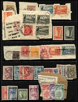 Lot 234 [2 of 3]:Interesting Assortment with KGV commemoratives including Vic Centenary 2d & 3d blocks of 4 & 1/- pair (gum crease) MUH, Macarthur 3d & 9d corner pairs MUH, 6d Large Kooka pair MUH, used with 1/- Vic Centenary x3 (plus 2d KGV) on piece, 1/- Vic Centenary CTO; also few covers including QANTAS flights. (Approx 100 )