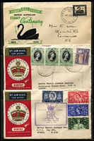 Lot 234 [3 of 3]:Interesting Assortment with KGV commemoratives including Vic Centenary 2d & 3d blocks of 4 & 1/- pair (gum crease) MUH, Macarthur 3d & 9d corner pairs MUH, 6d Large Kooka pair MUH, used with 1/- Vic Centenary x3 (plus 2d KGV) on piece, 1/- Vic Centenary CTO; also few covers including QANTAS flights. (Approx 100 )