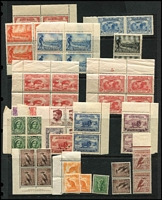 Lot 234 [1 of 3]:Interesting Assortment with KGV commemoratives including Vic Centenary 2d & 3d blocks of 4 & 1/- pair (gum crease) MUH, Macarthur 3d & 9d corner pairs MUH, 6d Large Kooka pair MUH, used with 1/- Vic Centenary x3 (plus 2d KGV) on piece, 1/- Vic Centenary CTO; also few covers including QANTAS flights. (Approx 100 )