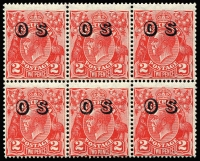 Lot 181 [1 of 5]:Overprinted 'OS' Selection with KGV SMult P13½x12½ 2d & 4d, CofA 2d block of 6 (MUH) & 3d, also Roos SMult 6d, MLVH or MUH, Cat $300+. (5 items)