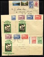 Lot 239 [3 of 3]:Pre-Decimal Array with used Roos to Third Wmk 5/- & CofA 5/- (CTO) including First Wmk 4d mint & 2/- used and SMult 1/- CTO, KGV commemoratives with 1/- ANZAC MUH, Jubilee set used, Thick Paper £1 Arms x2 used; few covers including 1960 Forces Mail illustrated envelope from Enoggera to Melbourne, FDCs etc; mixed condition. (few 100s)