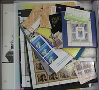Lot 285:1980s-90s array including a booklets and a few sheetlets, face value $150+, also 1997 Bradman PNC.