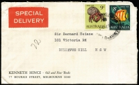 Lot 769:1966-70 9c Hermit Crab BW #452 plus 8c Coral Fish #451 on 1968 (May 3) Special Delivery cover from Melbourne to NSW. Nice usage item.