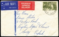 Lot 617:1966-74 75c Navigators BW #462 scarce solo franking on 1972 (Mar 8) small cover from Brisbane to UK paying combined airmail (35c) & express delivery (40c) fees. Cat $.