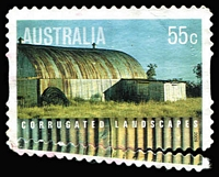 Lot 504:2009 Corrugated Landscapes 55c Shearing Shed Grossly misperforated at base, lightly cancelled.
