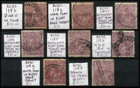 Lot 603 [2 of 4]:4½d Violet ACSC listed flaws Single Wmk x6 and SMult P14 x3, all annotated, generally fine, Cat $450. (9)