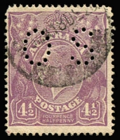 Lot 603 [1 of 4]:4½d Violet ACSC listed flaws Single Wmk x6 and SMult P14 x3, all annotated, generally fine, Cat $450. (9)