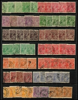Lot 237 [2 of 3]:Accumulation with Single Wmk to 4d orange x10, 4½d x2 & 5d x3, later watermarks to 5d, variety possibilities & lots of tidy datestamp cancels. Worth exploring. (230 approx)