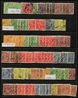 Lot 237 [1 of 3]:Accumulation with Single Wmk to 4d orange x10, 4½d x2 & 5d x3, later watermarks to 5d, variety possibilities & lots of tidy datestamp cancels. Worth exploring. (230 approx)