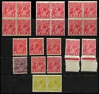 Lot 560 [2 of 5]:Array on Album Pages and Stockcards with mint 1d reds including blocks of 4 Single Wmk x2 & LMult and a few Die III singles, also LMult 1½d brown Harrison imprint block of 4; used with Single Wmk 4d violet perf 'OS' Thin 'FOUR PENCE', 1d red varieties, also Single Wmk 2d red mostly used collection in binder, many plated with lots of Brusden White listed flaws including few Inverted wmk, Retouched Face [14L12] (rounded corner, Cat $400), plus unlocated flaws, etc. Lots of potential. (few 100s)