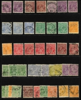 Lot 238 [2 of 3]:Assortment on Hagners sorted by Watermark type with values to 1/4d x4 (two are Single Wmk) including 4d lemon x2 & SMult P13½x12½ 4½d Die II CTO, a number of Watermark Inverted issues throughout including Single Wmk 2d orange perf 'OS' & 4d orange, LMult 1½d brown & 1½d black-brown, SMult P14 3d perf 'OS'; nice variety and worthy of closer inspection. (180 approx).