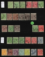 Lot 238 [3 of 3]:Assortment on Hagners sorted by Watermark type with values to 1/4d x4 (two are Single Wmk) including 4d lemon x2 & SMult P13½x12½ 4½d Die II CTO, a number of Watermark Inverted issues throughout including Single Wmk 2d orange perf 'OS' & 4d orange, LMult 1½d brown & 1½d black-brown, SMult P14 3d perf 'OS'; nice variety and worthy of closer inspection. (180 approx).