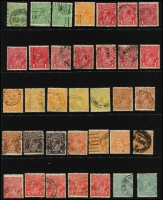 Lot 238 [1 of 3]:Assortment on Hagners sorted by Watermark type with values to 1/4d x4 (two are Single Wmk) including 4d lemon x2 & SMult P13½x12½ 4½d Die II CTO, a number of Watermark Inverted issues throughout including Single Wmk 2d orange perf 'OS' & 4d orange, LMult 1½d brown & 1½d black-brown, SMult P14 3d perf 'OS'; nice variety and worthy of closer inspection. (180 approx).