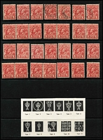 Lot 301 [1 of 3]:KGV Heads Accumulation in ringbinder, mostly used, sorted by value with 1d Engraved x28 including mint pairs x4 & strip of 3 plus CTO single ('JY17/14'), KGV 1d red x45, 1/4d x26 (mostly CofA), etc; also a section of 'OS' perfins & overprints; likely shade, postmark & variety potential. (100s)