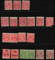 Lot 604 [2 of 3]:Mostly 1d Red Selection mostly mint including Single Wmk Line Perf single, Comb Perf Smooth Paper x26 (three perf 'OS') and Rough Paper x9 (four perf 'OS'); also No Wmk 1½d red pair, SMult P14 1½d red perf 'OS' block of 4 (MUH, Cat $300), etc; some variation in shades, generally fine. (52)