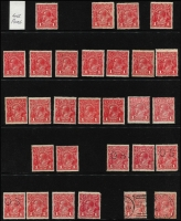 Lot 604 [3 of 3]:Mostly 1d Red Selection mostly mint including Single Wmk Line Perf single, Comb Perf Smooth Paper x26 (three perf 'OS') and Rough Paper x9 (four perf 'OS'); also No Wmk 1½d red pair, SMult P14 1½d red perf 'OS' block of 4 (MUH, Cat $300), etc; some variation in shades, generally fine. (52)
