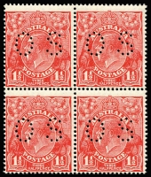 Lot 604 [1 of 3]:Mostly 1d Red Selection mostly mint including Single Wmk Line Perf single, Comb Perf Smooth Paper x26 (three perf 'OS') and Rough Paper x9 (four perf 'OS'); also No Wmk 1½d red pair, SMult P14 1½d red perf 'OS' block of 4 (MUH, Cat $300), etc; some variation in shades, generally fine. (52)