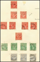Lot 564 [2 of 6]:Perf 'OS' Collection in album mostly used with Single Wmk 1d reds x75 including Die II x7, 1½d brown with Doubling of 'OS' perfin, 2d red Inverted wmk (Cat $300), 2d red Dry ink x2, 4d orange x11 including lemon shade, 1/4d CTO LMult Wmk ½d green Thin paper, 1d red Harrison Secret mark, No Wmk 1d green x2, SMult P14 ½d orange (Cat $325), 4d olive & 4½d violet; SMult P13½x12½ 1d green Die II (Cat $350) 3d Dry ink, & 4½d violet (Cat $175); Perf 'OS/NSW' including Single Wmk 3d perf 'NSW' only (without 'OS'); annotated varieties throughout; also some non-official issues at front of album; well worth inspection, high catalogue value. (400+)