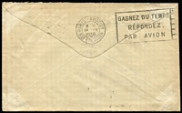 Lot 753 [2 of 2]:1/4d Greenish Blue BW #131 plus 6d Kingsford-Smith Airmail paying 1/10d airmail rate (Australia-France-Netherlands route) on 1938 (Jul 7) Austral Manufacturing Co commercial cover to Sassenheim, stamps tied by Sydney datestamps, Paris Aviation transit backstamp, minor blemishes. Exhibit potential.