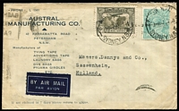 Lot 753 [1 of 2]:1/4d Greenish Blue BW #131 plus 6d Kingsford-Smith Airmail paying 1/10d airmail rate (Australia-France-Netherlands route) on 1938 (Jul 7) Austral Manufacturing Co commercial cover to Sassenheim, stamps tied by Sydney datestamps, Paris Aviation transit backstamp, minor blemishes. Exhibit potential.