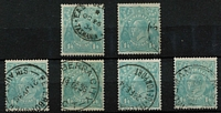 Lot 752 [2 of 2]:1/4d Greenish Blue x8 (including a pair), fine/very fine used, Cat $200. (8)