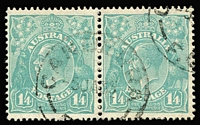Lot 752 [1 of 2]:1/4d Greenish Blue x8 (including a pair), fine/very fine used, Cat $200. (8)