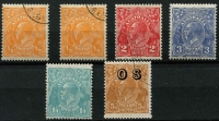 Lot 747 [2 of 2]:CTO Selection with ½d x2, 2d, 3d, 1/4d x2 and 5d optd 'OS', without gum. [Most ½d values contained in CofA CTO 'sets' are actually SMult P13½x12½. The CofA ½d CTO is an extremely difficult stamp to locate] (7)