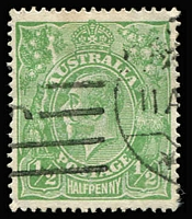 Lot 686:½d Green Comb Perf Electro 5 variety Cracked electro - second state, left wattles to forearm of kangaroo [5L46] BW #65(5)ha, minor tone at top, tidy machine cancel clear of the flaw, Cat $600.